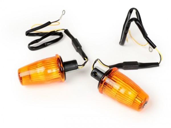 Blinker-Set -MOTO NOSTRA Lenkerblinker LED (E-Prüfzeichen), 12 Volt- Vespa V50, 50SS, 50SR, 50 Sprinter, 90SS, 90 Racer, PV125, ET3, Sprint150, Rally180/200 - orange