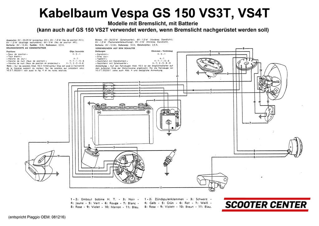 Wiring loom -VESPA- Vespa GS150 / GS3 (VS2T-VS4T) | Wiring ... on