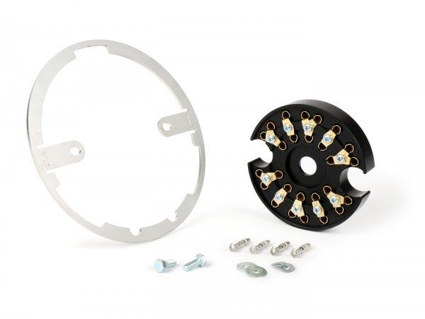 Montagerahmen-Set für Scheinwerfer inkl. Klemmbrett -MOTO NOSTRA- LED HighPower - Ø=120mm - 12V DC - E9-Kennzeichnung - zur Umrüstung von Lambretta LI (Serie 3)