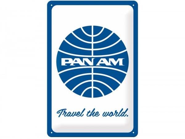 "Reklameschild -Nostalgic Art- ""Pan Am - Travel the world Logo white"", 20x30cm"