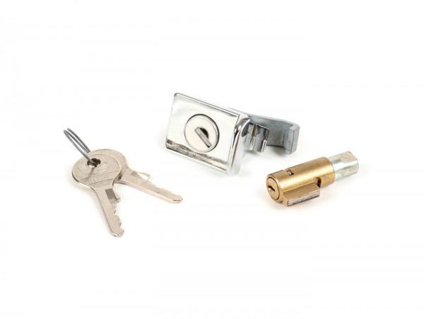 Juego de cerraduras -PIAGGIO (NOS) (original NEIMAN) 38,5x4mm- Vespa PX (-1984), V50 Special (V5A2T/V5A3T), GT125 (VNL2T, 62685-), GTR125 (VNL2T), TS (VNL3T), PV125 (VMA2T, 028960-), ET3 (VMB1T), Super 150 (VBC1T) - 2 piezas (cerradura dirección y gu