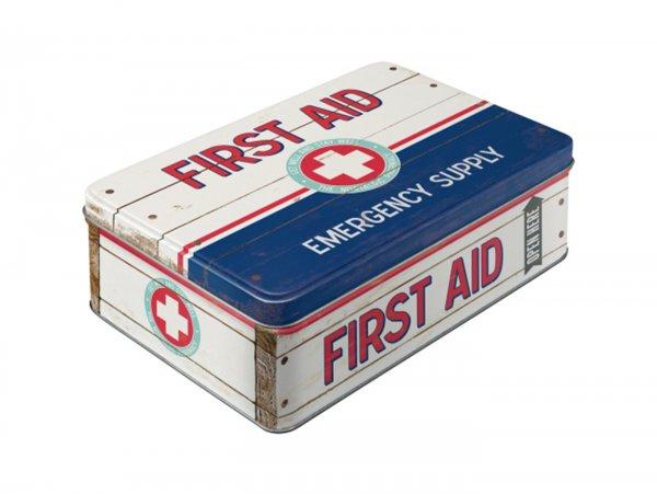 """Vorratsdose, flach -Nostalgic Art- """"First Aid Blue - Emergency Supply"""" - 23x16x7cm (2.5l)"""