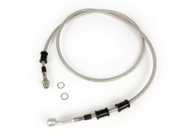 Bremsleitung hinten zur Bremszange Brembo P32G, P34G, Frando -SPIEGLER Leitung: Edelstahl (transparent), Fitting: Aluminium (Silbern)- Vespa (mit ABS) GTS 125i.e. Super ABS (ZAPM45300, ZAPM45301), Vespa GTS 300 ABS (ZAPM45200, ZAPM45202), Vespa GTS 3