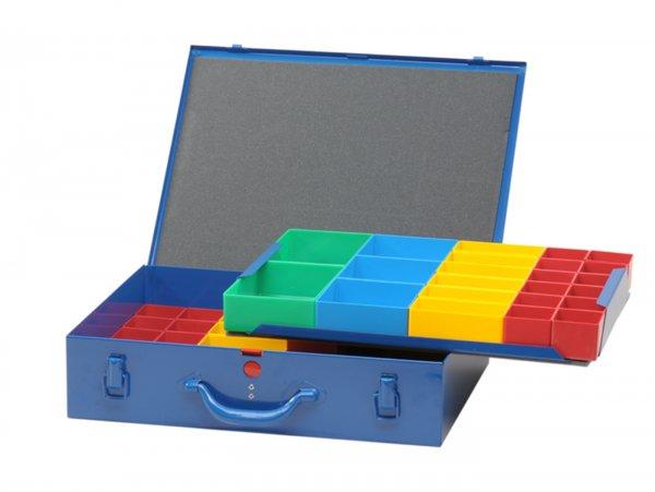 Sortierkasten -HÜNERSDORFF, Metall (330x440x100mm)- 59 Fächer, blau, pulverbeschichtetem Stahlblech