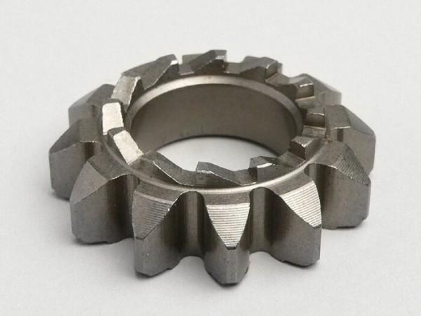 Kickstart sprocket -OEM QUALITY- Vespa P 125X (-146313), P 150X/E (-264564), Sprint150 (VLB1T), GT125 (VNL2T), GTR125 (VNL2T), GL150 (VLA1T), GS160 / GS4 (VSB1T), SS180 (VSC1T) - teeth 12/12, Ø=21.8mm