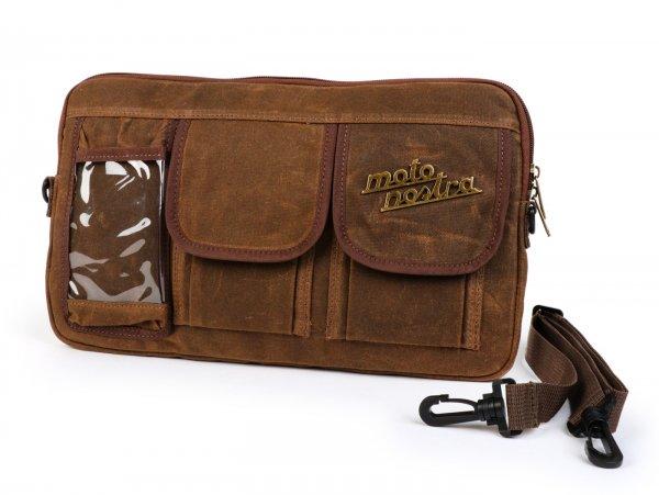 Tasche für Gepäckfachklappe / Umhängetasche (inkl. Handytasche (bis 6,2 Zoll, z.B. iPhone 11)) -MOTO NOSTRA Classic 'waxed canvas'- passend für z.B. Vespa, Lambretta, GTV, GTS, HPE, Supertech, Touring - braun