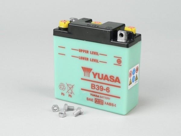 Batterie -Standard YUASA B39-6 (6N7-1) 6V 7Ah - 126x126x48mm (ohne Säure) - Vespa Sprint150 (VLB1T) (D), VNB1T, VL3T, VB1T, VBA1T, VBB1T, GL150 (VLA1T), VGL1T, Vespa 150 T3 (VD2T) , Vespa 150 T4 (VGLA1T - VGLB1T)