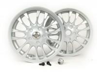Pair of wheel rims incl. conversion kit -PIAGGIO 3.00-12 inch - 14 spokes- type Vespa Sprint 50-150cc - fits Vespa GT, GTL, GTS 125-300, GTV - silver grey