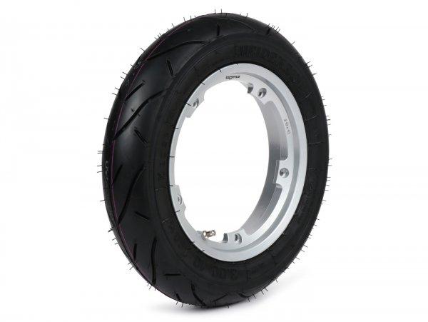Wheel -HEIDENAU K80SR, tubeless, Vespa Smallframe V50, PV, ET3, PK- 3.00 - 10 inch TL 50M (reinforced) - wheel rim BGM PRO 2.10-10 Aluminium - silver