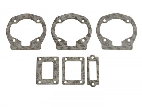 Dichtung-set Zylinder/Membranansaugstutzen -QUATTRINI M1XL 172ccm- 0,25mm/0,50mm/0,75mm, 3 Kanal- Vespa PX125, PX150, Cosa125, Cosa150, GTR125, TS125, Sprint Veloce (VLB1T 0150001-)