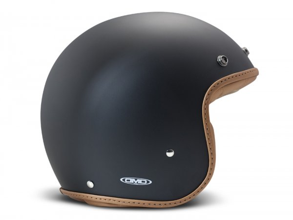 Helmet -DMD Jet Vintage- open face helmet, vintage - Pillow Matt Black-Brown - M (57-58cm)