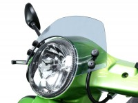 Windschutzscheibe mit schwarzen Haltern -MOTO NOSTRA, b=340mm, h=105mm- Vespa GT, GTL, GTS, GTS Super 125-300ccm -