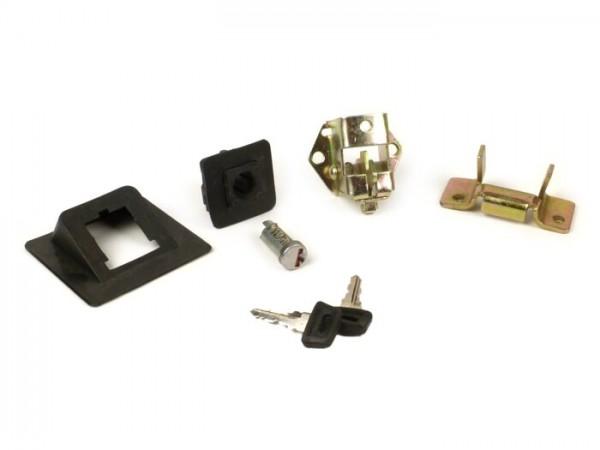 Seat lock -VESPA- Vespa PK50 (V5X1T), PK50 S (V5X2T), PK80 S (V8X5T), PK125 S (VMX5T), PK50 S Automatic (VA51T), PK80 S Automatic (VA81T), PK125 S Automatic (VAM1T), PK50 XL (V5X1T, V5X3T), PK125 (VMX6T), PK50 XL Automatic (VA51T)