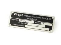 Typenschild -OEM QUALITÄT- Vespa Messerschmidt GmbH Augsburg (80x30x0,5mm) - eckig