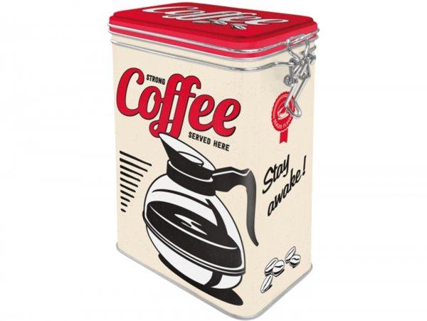 "Kaffeedose, Aromadose -Nostalgic Art- ""Strong Coffee Served Here"" - 7.5x11x17.5cm (1.3l)"
