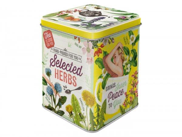 "Tea box -Nostalgic Art- ""Selected Herbs"", 7,5 × 7,5× 9,5cm"