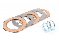 Clutch friction plate set -MALOSSI SPORT Vespa Smallframe V50, V90, SS50, SS90, PV125, ET3, PK50, PK80, PK50 S, PK80 S, PK125 S, PK50 XL, PK80 XL, PK125 XL, ETS, PK50 HP, PK50 SS - 3 friction plates (incl. springs and steel plates)