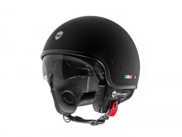 Helm -HELMO MILANO- Demi Jet, Puro, rubber black - XS (53-54cm)
