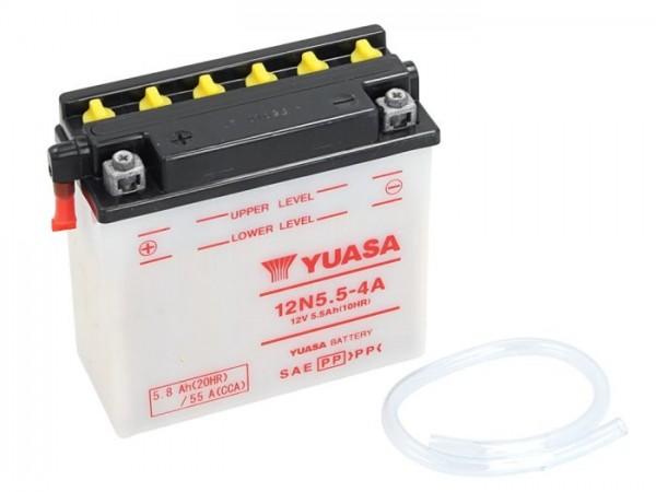 Batterie -Standard YUASA 12N5,5-4A- 12V, 6Ah - 114x70x131mm (ohne Säure)