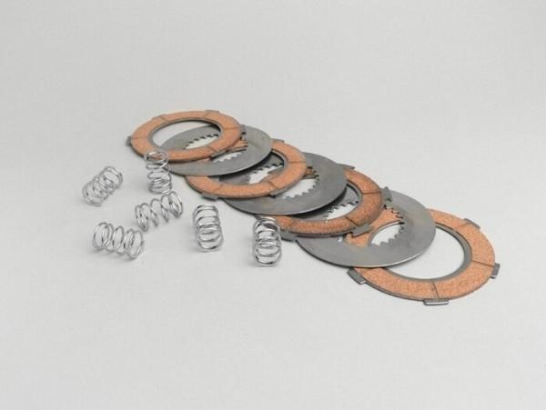 Juego discos de embrague -Vespa tipo 6 muelles (Vespa PX80, PX125, PX150)- 4 discos calidad premium (muelles y separadores de embrague incl.)