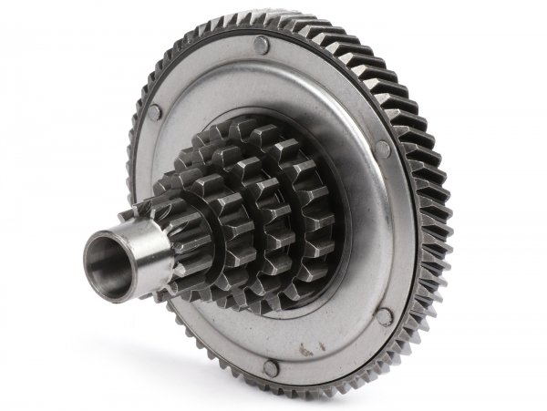 Gear cluster with primary gear -OEM QUALITY- Vespa PX125 (VNX1T, 146314-), PX150 (264565-), T5 125cc, Cosa - 12-13-17-21 teeth with primary gear 68 teeth
