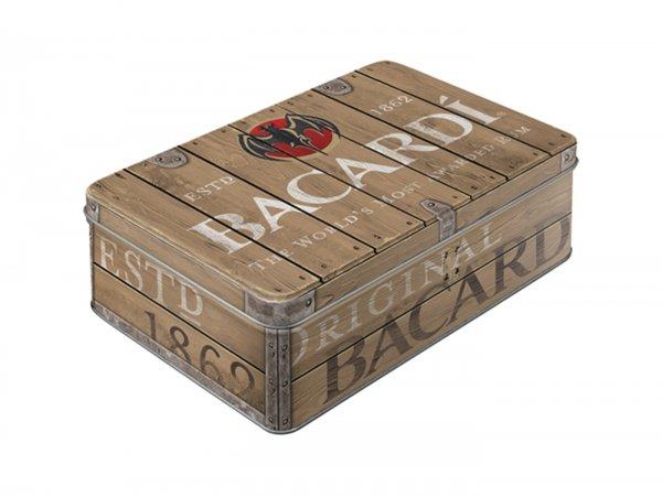 """Vorratsdose, flach -Nostalgic Art- """"Bacardi - Wood Barrel Logo"""" - 23x16x7cm (2.5l)"""