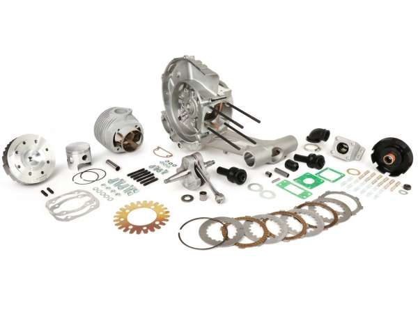 Tuning Kit (engine casing, crankshaft, clutch, cylinder) -PINASCO 251 cc Slave, reed valve intake- Vespa PX, Rally, Sprint, VNA, VNB, VBA, VBB, Super, TS, GT, GTR