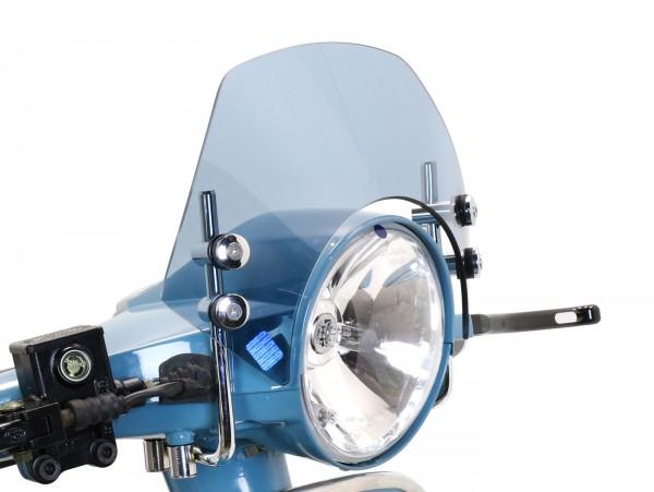 Windschutzscheibe mit verchromten Haltern -MOTO NOSTRA, b=340mm, h=105mm- Vespa PX80, PX125, PX150, PX200, LML 125/150 Star/Stella - grau getönt