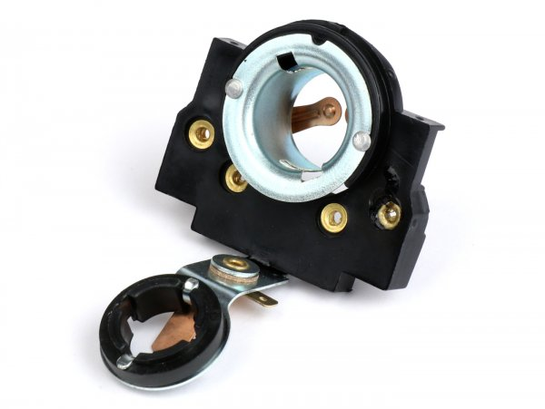 Headlight bulb holder -SIEM- Vespa V50/90 (Bilux), PV, ET3, Rally180 (VSD1T), Rally200 (VSE1T), Sprint150 Veloce(VLB1T) - for round type SIEM headlight