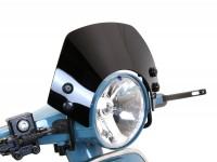 Windschutzscheibe mit schwarzen Haltern -MOTO NOSTRA, b=340mm, h=105mm- Vespa PX80, PX125, PX150, PX200, LML 125/150 Star/Stella -