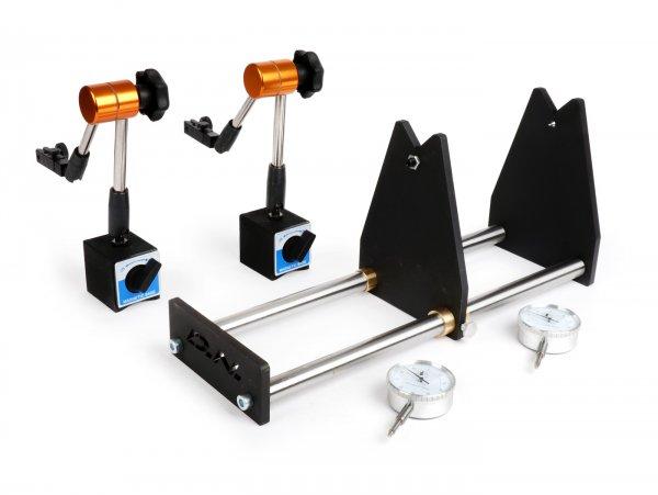 Banco para calibrar cigüeñales incluidos los relojes de comparación -D.N. Performance CAT350- utilizado para medir la concentricidad de los cigüeñales (motores de 2 y 4 tiempos / 1 y 2 cilindros)
