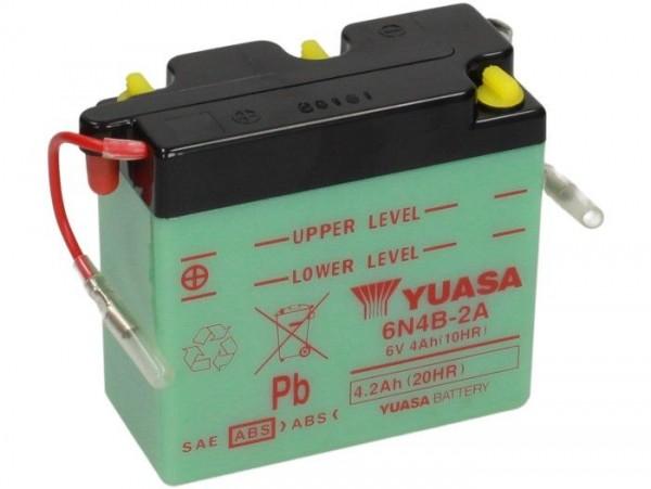 Batterie -Standard YUASA 6N4B-2A- 6V, 4Ah - 103x48x96mm (ohne Säure)