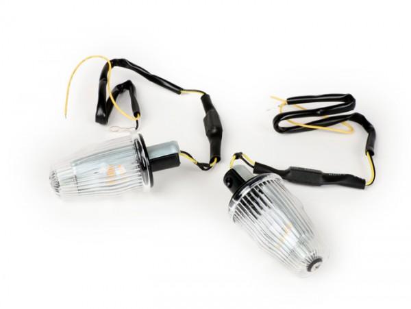 Blinker-Set -MOTO NOSTRA Lenkerblinker LED (E-Prüfzeichen), 12 Volt- Vespa V50, 50SS, 50SR, 50 Sprinter, 90SS, 90 Racer, PV125, ET3, Sprint150, Rally180/200 - weiß