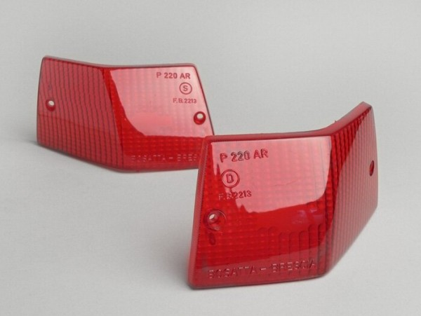Blinkergläser -BOSATTA 2er Set- Vespa PX80, PX125, PX150, PX200, T5 125cc hinten- Rot