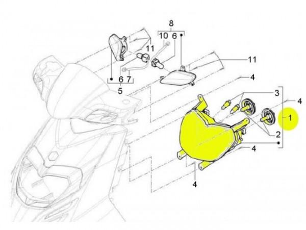 Scheinwerfer -PIAGGIO- New TPH (ab Bj. 2010) (LBMC501, LBMM701, ZAPM501)