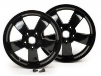 Pair of wheel rims -PIAGGIO Super Sport 2017 - black, 3.00-12 inch - 5 spokes- Vespa GT, GTL, GTS, GTV 125-300cc - models - black