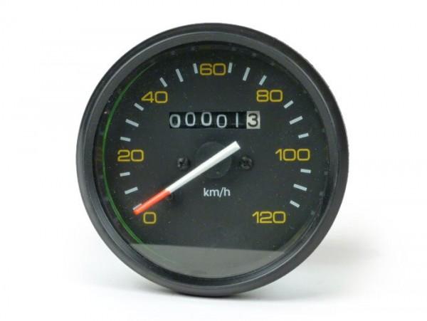 Cuentakilómetros -CALIDAD OEM- Vespa Ø=85mm - PX alt (hasta el año 1984) - 120km/h - negro