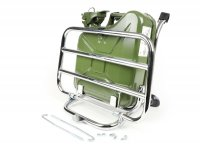 Front rack, fold down -FA ITALIA, chrome, incl. 5-litre fuel jerry can- Vespa Smallframe V50, 50S/N/L/R, 50SR, PV, ET3, PK S, PK XL, Largeframe PX, T5, Sprint, Rally, GS160, SS180, TS, GT, GTR, VNA, VNB, VBA, VBB, Super, Wideframe V1-V33, VB, VN, VM,