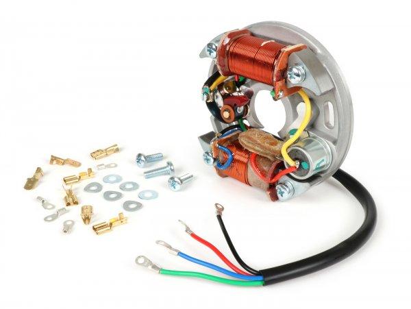 Encendido -VESPA soporte bobinas completo (encendido con platinos, 4 cables, 6V 15W, 2 bobinas, platinos cortos)- Vespa V50 - 50 R (V5A1T, 853411-), 50 Special (V5B1T, 70567-), 50 Special (V5B3T) - bobina de encendido exterior, para con luz de freno