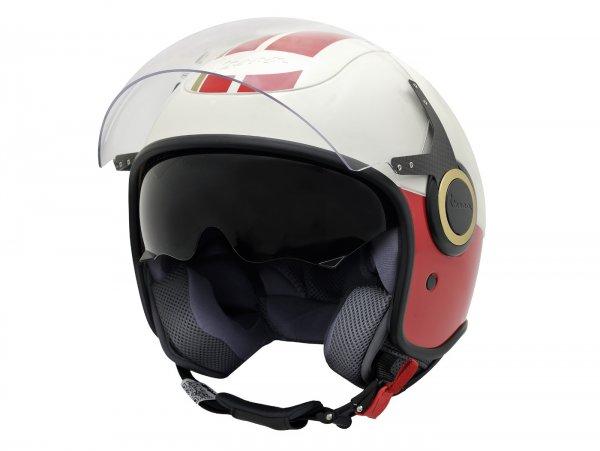 Helm -VESPA Jethelm VJ- Racing Sixties- weiß rot- S (55-56 cm)