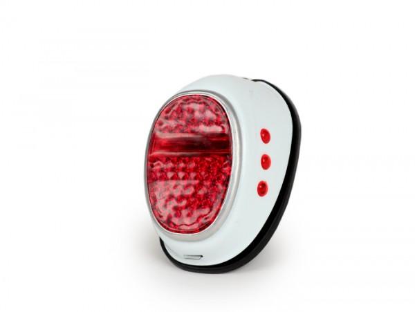 Rücklicht -OEM QUALITÄT, Hella Moped Repro- Blechausführung 'tropfenform' mit Bremslicht - verwendet für Puch Maxi, NSU, DKW, Zündapp, Hercules, Goggo-Roller, Vespa Hoffmann - weiss
