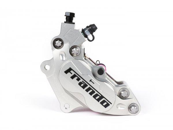 Pinza de freno delantero, izquierdo -FRANDO, de 4 pistones, Ø=30/34mm, (F101R)-  Vespa GT, GTL, GTS, GTS Super 125-300cc, Vespa Sprint 50-150cc, Vespa Primavera 50-150cc, Vespa 946 - plata