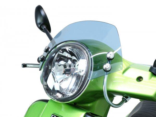 Windschutzscheibe mit verchromten Haltern -MOTO NOSTRA, b=340mm, h=105mm- Vespa GT, GTL, GTS, GTS Super 125-300ccm - grau getöntes Glas