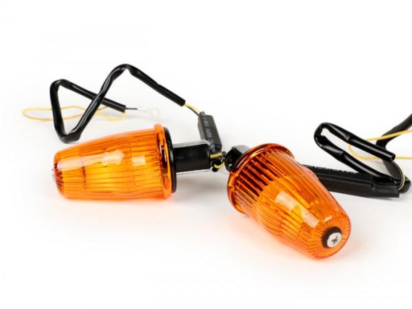 Blinker-Set -MOTO NOSTRA Lenkerblinker LED (E-Prüfzeichen), 6 Volt- Vespa V50, 50SR, 50 Sprinter, 90SS, 90 Racer, PV125, ET3, Sprint150, Rally180/200 - orange