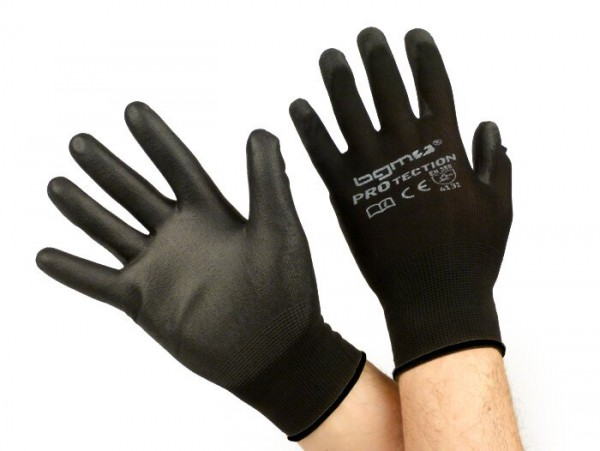 Work gloves - mechanics gloves - protective gloves -BGM PRO-tection- seamless knitted gloves, 100% nylon with polyurethan coating - size XXL (11)