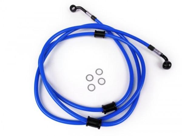 Bremsleitung hinten für Bremszange Brembo P32G, P34G, Frando -SPIEGLER Leitung: Edelstahl (blau), Fitting: Aluminium (schwarz)- Vespa GT 125 (ZAPM311), GT 200 (ZAPM312), GT L 125 (ZAPM311), GT L 200 (ZAPM312), GTS 125 (ZAPM313)