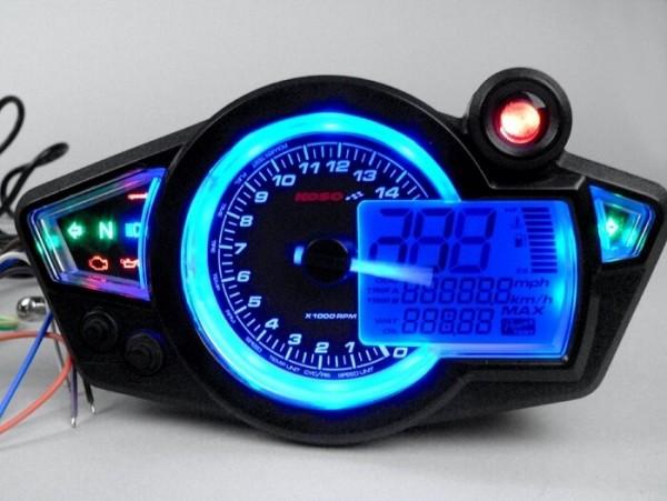 Speedo -KOSO GP-Style RX1N- universal - with ece aproval mark - (152mm x 81mm x 28mm) - black