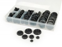Rubber plug set -UNIVERSAL 140 pcs- black - Ø=7.0-9.5-12.0-15.8-19.0-22.0-25.4mm