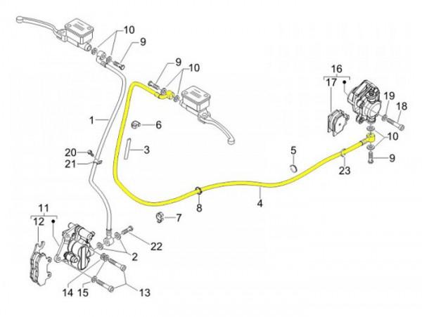 Tubería freno trasero -PIAGGIO- Vespa GT 125 (ZAPM311), GT 200 (ZAPM312), GT L 125 (ZAPM311), GT L 200 (ZAPM312), GTS 125 (ZAPM313)