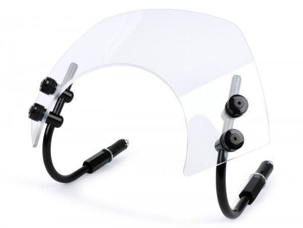 Windschutzscheibe mit schwarzen Haltern -MOTO NOSTRA, b=340mm, h=105mm- Vespa GTS 125-300 HPE (2019-) ccm - transparentes Glas
